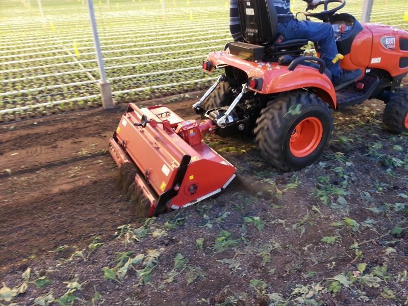 Kioti CS2610 tuinbouw uitvoering geleverd met snipperbak